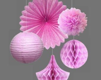 5pcs Mint Kit Party Decoration Tissue Paper Pom Poms/Fans Tissue Paper Honeycomb Drops/Balls Fluffy Paper Flowers Wedding Decor