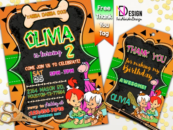 the flintstones invitation free thank you tag pebbles