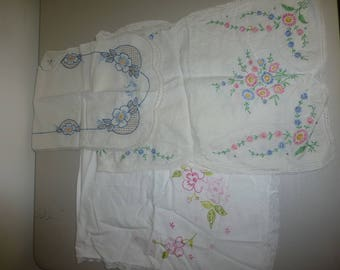 Set of Three Antique dresser scarves Beautifully hand embroidered!