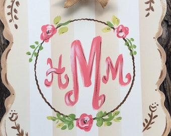 nursery decor, personalized sign, family sign, door hanger, wedding sign, door decor, wall decor, painted name sign, name plaque