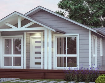 636 sq feet or 59.9 m2 |  Hamptons Style 2 Bed + Study granny flat | small home design |