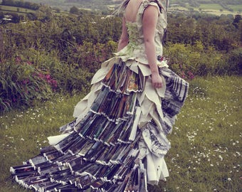 SALE! Fairytale book dress, Alternative wedding dress or photo shoot costume, paper princess ball gown World Book Day, Upcycled clothing
