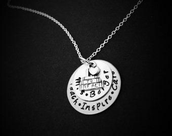 Personalized Teacher Necklace-Teacher's Jewelry, Teacher Appreciation Gift, End of Year Teacher Gift, Teacher Gift