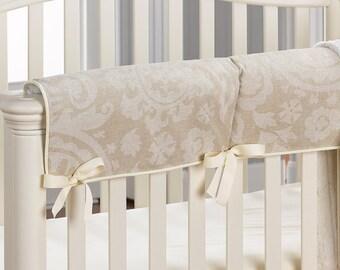 Cloud Linen Suzani Crib Rail Teething Cover | Tan and Sand Suzani Crib Wrap | Gender Neutral Rail Cover