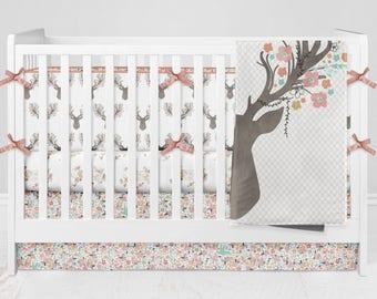 Crib Bedding Deer Antlers Fawn Girl Floral Woodland Custom Made Fabrics