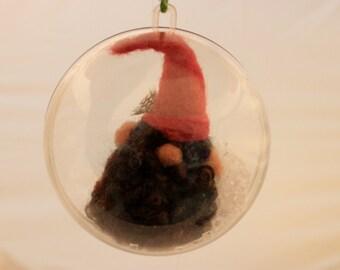 Needle felted Gnome Ornament Gnome Snow Globe, Gnome ornie 4 inch #   1989