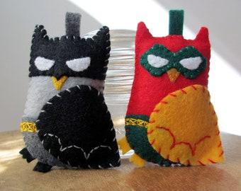 Pocket Felt Super Hero Owls- Batman and Robin