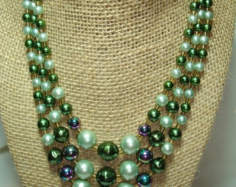 1960s Made in Japan Purple and Green Triple Strand Beaded Necklace.