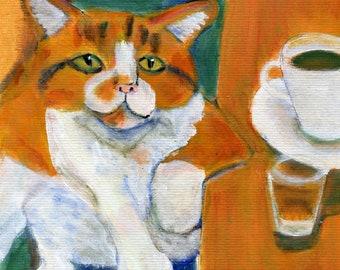 "Cat art card, Orange Tabby drinking,   5"" x 5"" blank art card, Animal Spirits series"