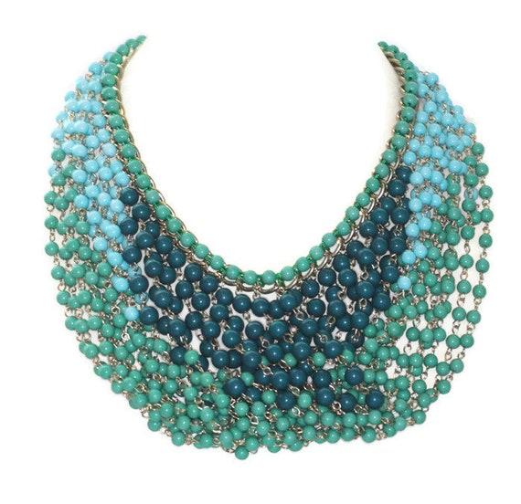 Cara NY Bib Necklace Green and Blue Bead Multi Strand Necklace Draped Vintage