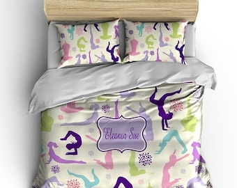 Memorial On Sale Personalized Custom Bedding Gymnastics - available Toddler, Twin, Full/Queen or King Size