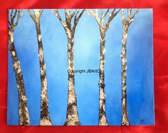 Trees in the blue (Original painting on canvas board)