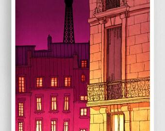 Paris illustration - Paris windows (night version) - Art illustration Prints Posters Architectural drawing Red Travel poster