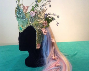 OOAK Spring Flower Faerie Fantasy Masquerade Headdress Ready to ship