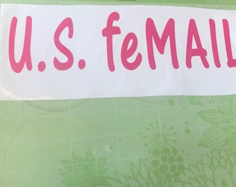 mail carrier female car sticker vinyl U.S. feMAIL