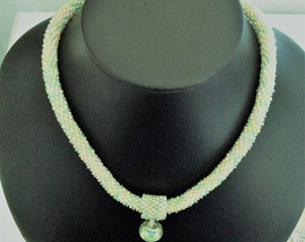 green candy bead crochet necklace
