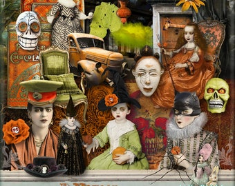 Falloween - 3 x Digital Collage Sheet ATC .png - itKuPiLLi - Printable, Instant Download