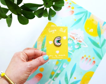 C is for Cute Caterpillar Cuppa Club Enamel Pin