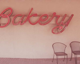Bakery Sign - Red Vintage Bakery Sign Photograph