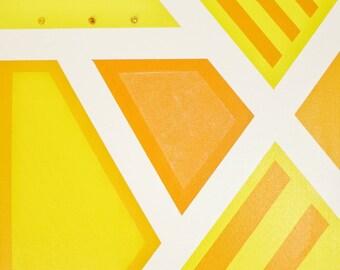 "Monochrome Geometric Art Abstract Mixed Media Art Yellow Painting Original Art 16"" x 20"""