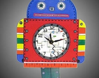 Whimiscal Red Toy Robot Pendulum Clock