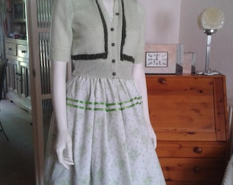 Pretty Green Floral Summer Dress and Cardigan in 1950s Style