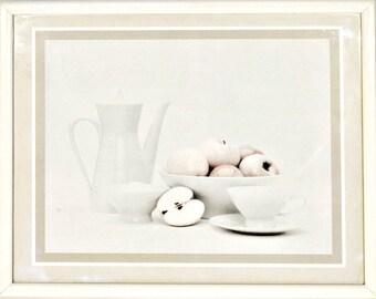 Donald Art Company Inc. framed print litho - Robert Koropp 1987 - still life fruits - shades of grey - apples and white