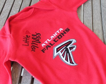 Baby Girl Personalized ATL Football Onesie Customized Embroidered Monogram Baby Infant Short Sleeve Onsie Body T-Shirt-Red/Black/White/Gray