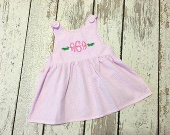 Mallory dress- pink seersucker dress, seersucker dress, girls seersucker dress, baby seersucker dress