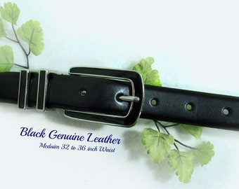 Black Leather belt,unsex belt, men's belt, man's belt, dress belt, silver buckle belt,size medium ,  # B8