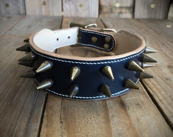 Nautical Punk | English Bridle Leather Spiked Dog Collar Lined with Veg Tan Horsehide | Saddle Stitched by Hand