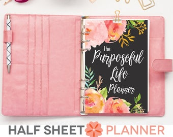2018 Planner Printable, Half Sheet, The Purposeful Life Planner, DATED, Floral Watercolor, To Do List, Goal Setting