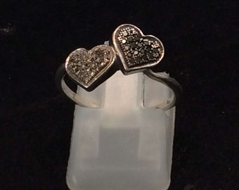 Sterling Silver White and Black Diamond Love Heart Duo Ring,