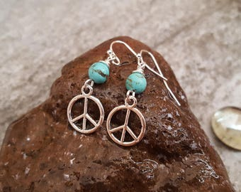 Silver Peace Sign Earrings - Blue Turquoise Peace Sign Silver Plated Earrings - Peace on Earth, jingsbeadingworld inspired by nature