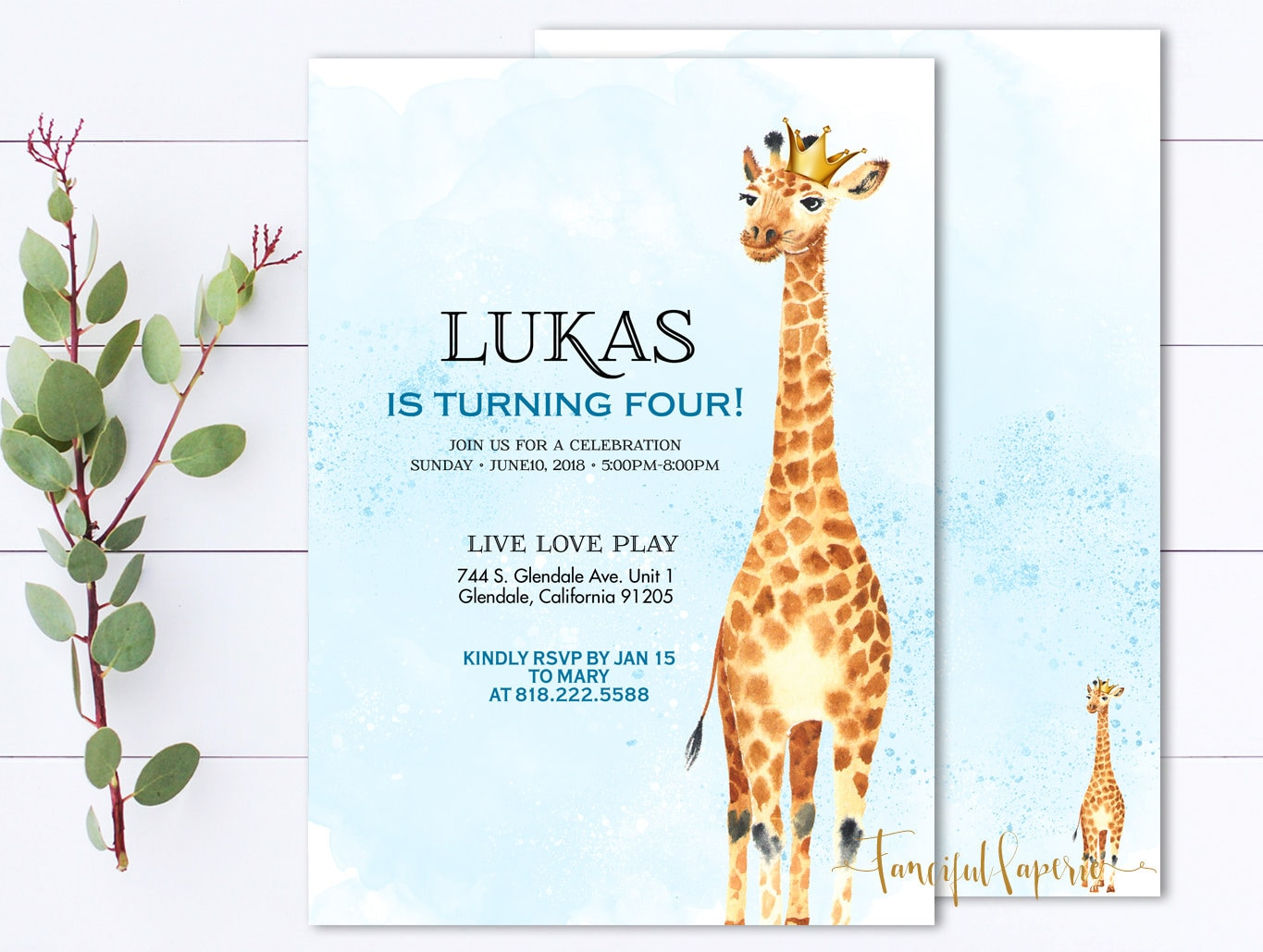 Giraffe Birthday Party Invitation Giraffe Invite Giraffe