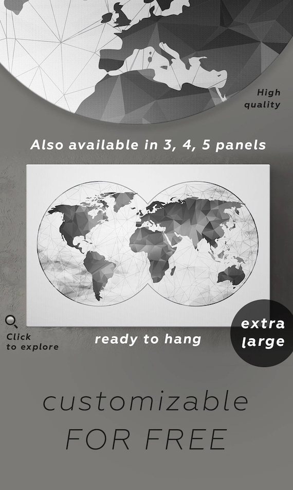 Large gray world map grey canvas world map gray black and like this item gumiabroncs Choice Image