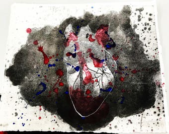 Anatomical Heart Lithography Print