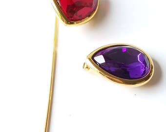 Vintage Trifari Heart Stick Pin, Purple and Red Stick Pin, Hat Pin, Signed Trifari, Gold Tone Heart Stick Pin, Facet Glass Stones