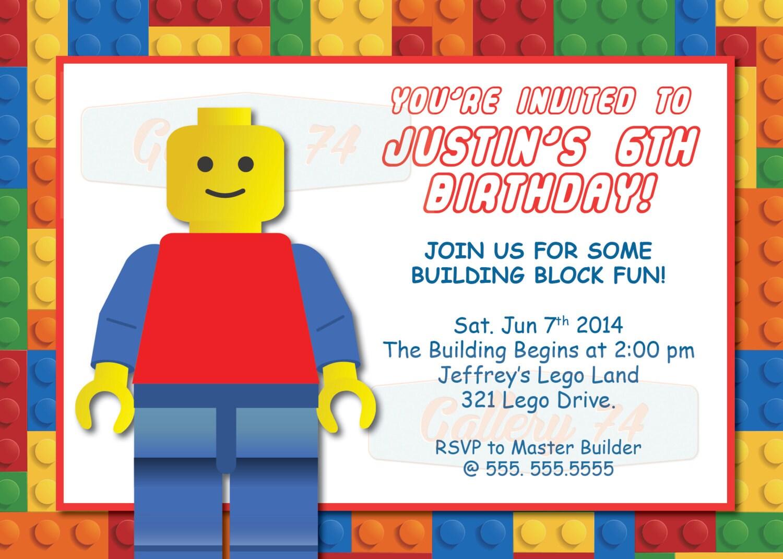 Benutzerdefinierte Lego Geburtstag Einladung druckbare