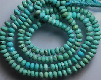 13 Inches Long, AAA Natural Arizona Sleeping Beauty Turquoise Faceted Rondelles, 6.5-6mm