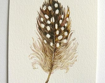 Watercolor Feather Painting  Feather Wall Art Small Painting Original Painting Brown Feather Painting Mothers Day Gift Feather watercolour