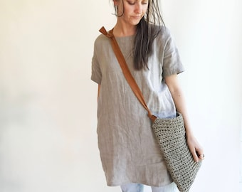 Linen Tunic Dress with Short Sleeves, Linen Tunic for Women, Plus size tunic, Tunic tops, Linen tunics for women, tunic shirt, Women's Tunic