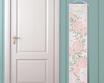 "Personalized Girl's Growth Chart ""Pretty Floral in Pink"""