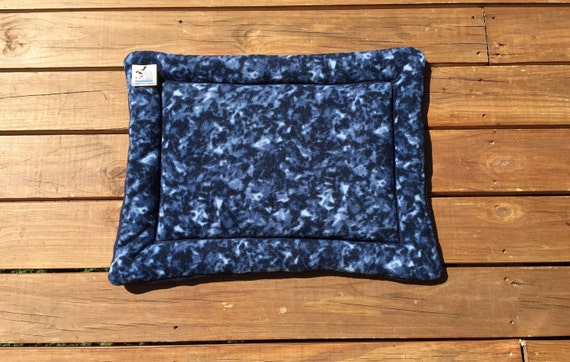 Pet Crate Pad, Kennel Mat, Small Puppy Bed, Cat Bedding, Blue Tie Dye Dog Bed, Navy Tonal, Pet Travel Item, Kennel Cover, Cat Cushion, 19x25