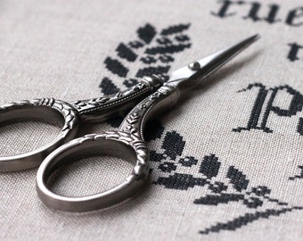 """4-1/4"""" Larger Handle Embroidery Scissors : Sullivan's Pewter Finish Heirloom Stainless Steel counted cross stitch tool hand embroidery"""