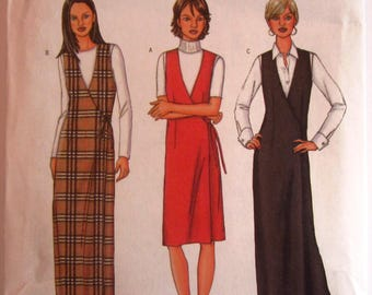 Easy Sew Misses Fitted Wrap Jumper, Straight or A-line, Two Lengths Sizes 12 14 16 Butterick Pattern 3191 UNCUT
