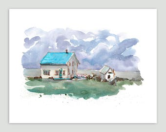 Coastal House with Tin Roof, Gaspé Peninsula – Fine Art Print of Original Watercolour Painting