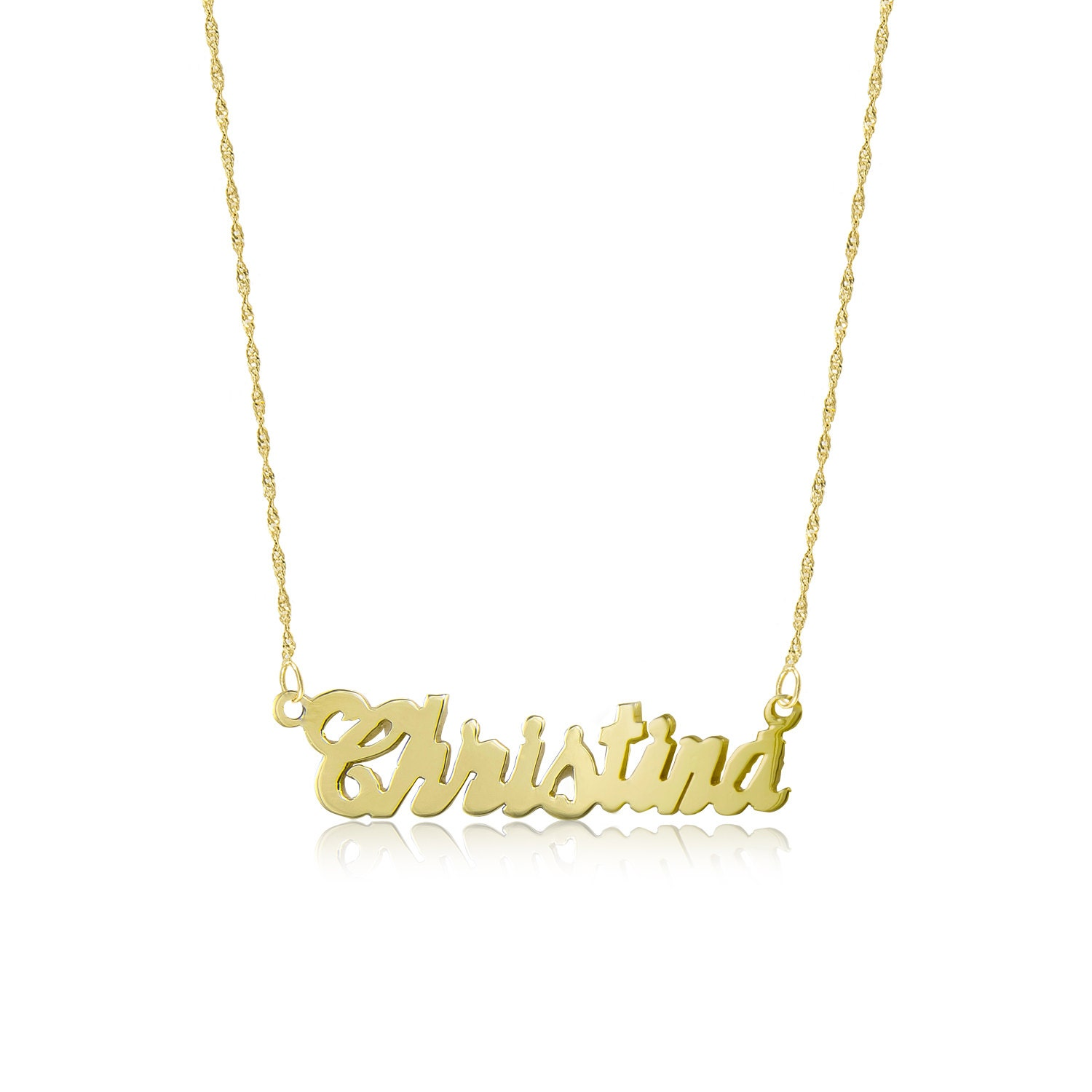 gold necklace letter chain name il fullxfull personalized kooj listing charm solid custom alphabet rolo pendant yellow set