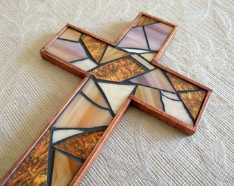 Rustic Wooden Wall Cross, Mosaic Cross, Stained Glass Cross, Copper Wall Cross, Baptism Wall Cross, Cross Wall Hanging, Cross Wall Decor