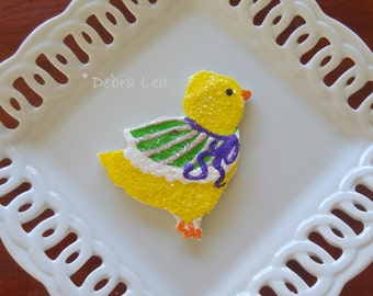 Handmade Fake Cookie Faux  Easter Sugar Cookie Chick with Green Shawl